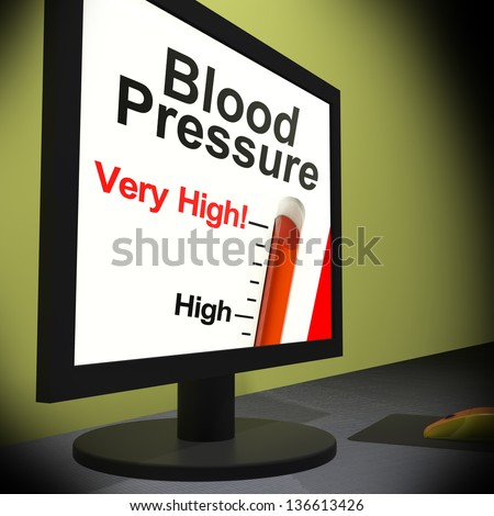 Blood Pressure On Monitor Showing Very High Levels Or Unhealthy