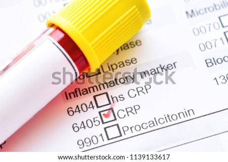 Blood sample tube with laboratory requisition form for C-reactive protein (CRP) test