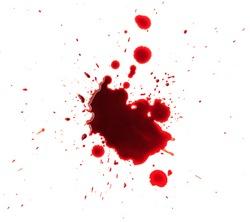 Blood splashed isolated on white background