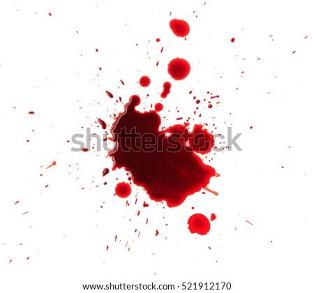Blood splashed isolated on white background #521912170