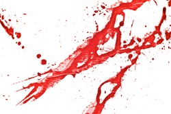 Blood splatter or stain splashed with red acrylic paint isolated on white background for abstract fun wall decoration, top view.