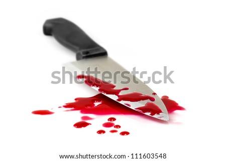 Blood splatter with kitchen knife