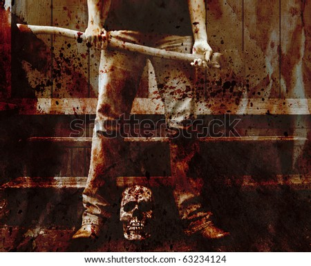 blood splattered scene of an axe murderer with the skull of the victim