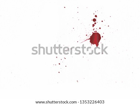 Blood splatters on white background #1353226403