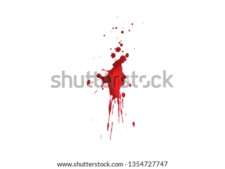 Blood splatters on white background