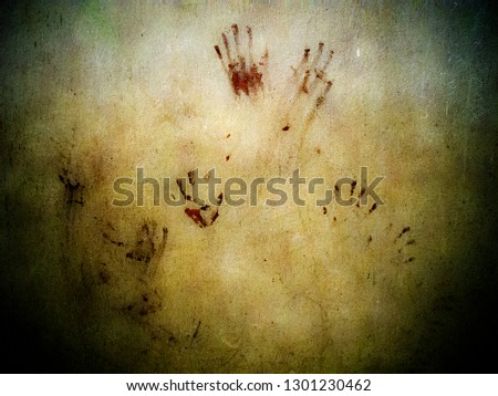 Blood stain hand print on grungy wall. #1301230462