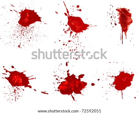 Blood stains isolated on white