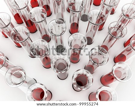 Blood tubes on white background