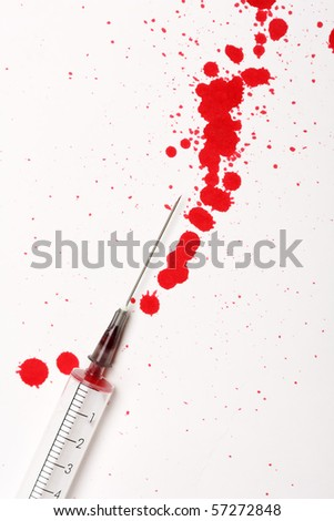 Blood with syringe