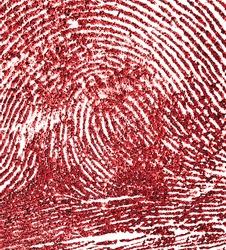 Bloody fingerprint as background, macro. Imprint of index finger.