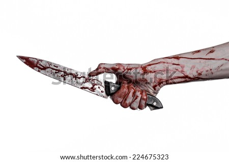 Bloody hand holding a knife, a large… Stock Photo 224675422