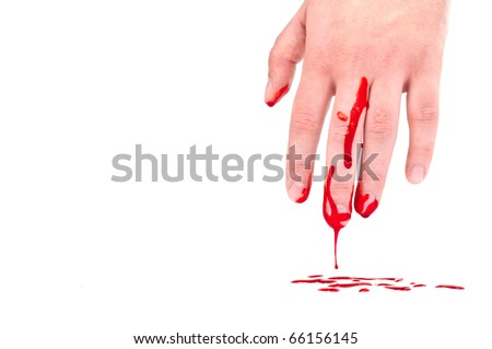 bloody hand isolated on white