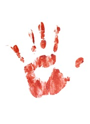 Bloody hand print isolated on a white background.