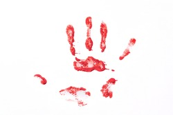 Bloody hand print isolated on a white background. Crime and violance concept.
