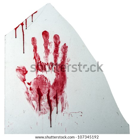 Bloody hand-print on broken glass isolated on white
