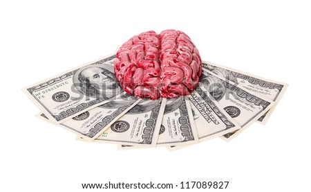 bloody human brain with money isolated on white background
