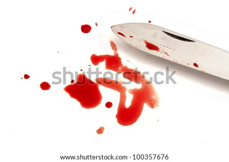 bloody knife on white background, red blood stains