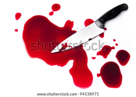 bloody knife with blood splatter isolated on white - stock photo