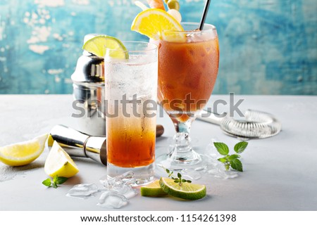 Bloody Mary and sparkling punch, breakfast or brunch cocktails variety