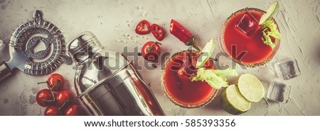 Photo of  Bloody mary cocktail and ingredients, copy space