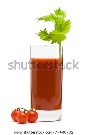 Bloody mary - mix drink from vodka and tomato juice on white background