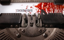 Bloody note - Vintage inscription made by old typewriter, Crimescene
