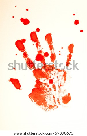 Bloody print of a bleeding hand on a white background