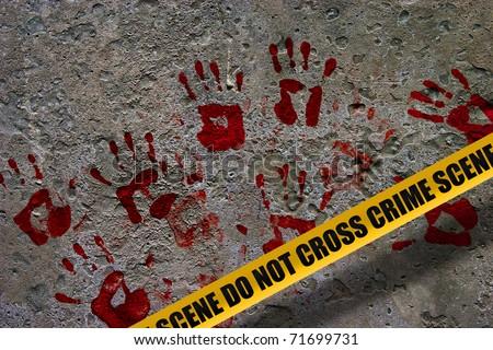 Bloody red palm prints over stone background at crime scene illustrating crime scene concept