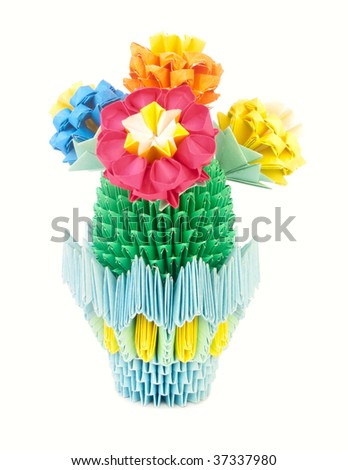 Blooming cactus in a beautiful pot, made of paper. Origami. Several flowers on the cactus.