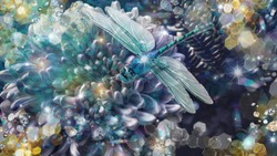 Blooming chrysantemum and a blue dragonfly. Artistic effects and filters used on the original photo.