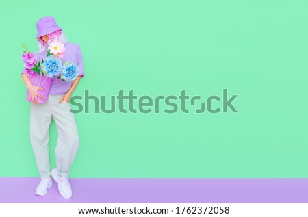 Blooming flowers aesthetic mood.  Hipster Summer Girl. Fashion concept. ideal for bloggers, websites, magazines, business owners Stock photo ©