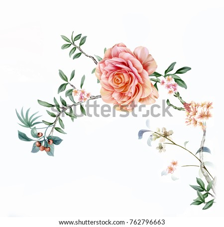 Blooming flowers, the leaves and flowers art design