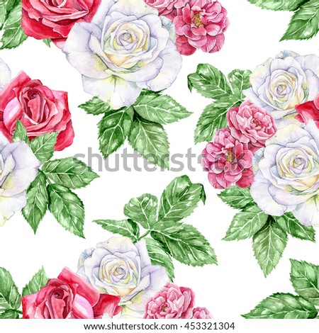 Blooming garden. White, red and wild rose. Beautiful, with many details seamless watercolor pattern. Great for design fabric, wrap, wallpaper, scrapbooking.