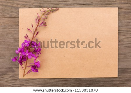 Blooming sally purple flowers with craft paper blank on old grunge wooden background. Top view. Minimalistic mockup.