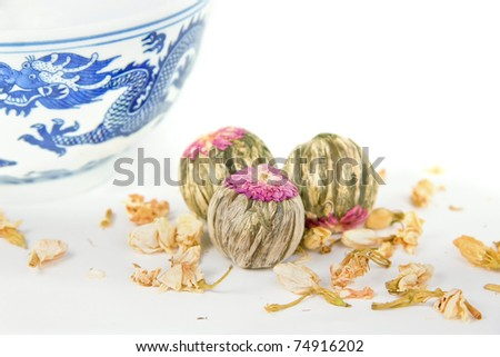 Blooming tea isolated on white