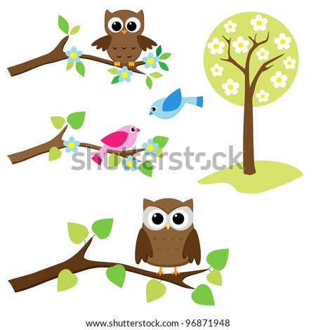 Blooming tree and branches with sitting owls and birds. Raster version.