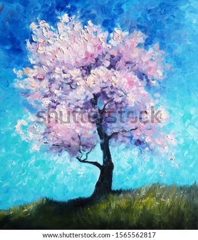Blooming Tree - Oil Painting On Canvas - Beautiful Spring Cherry Blossom - Original Sunny Landscape Fine Art - Springtime Abstract Modern Art