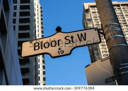 Bloor Street West Street Sign Toronto. A street sign indicating Bloor Street West in downtown Toronto, Canada.