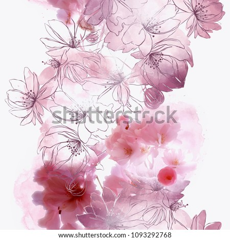 Stock Photo blossom cherry (sakura) flowers mix repeat seamless pattern. watercolour and digital picture. mixed media artwork. endless texture for textile decor and design
