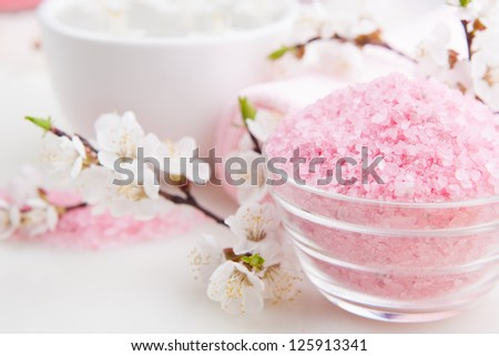 Blossom flower and sea salt for spa treatment