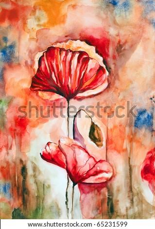 Blossoming poppy and poppy buds drawn by water color color on a water color paper