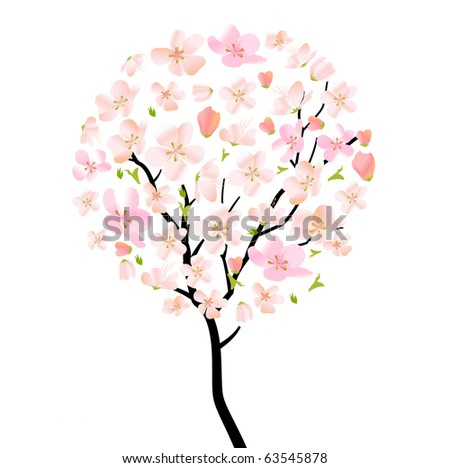 Blossoming tree isolated on white  background. Raster version. Vector version is in my gallery.