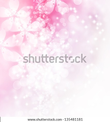 Blossoms and bokeh pastel illustration