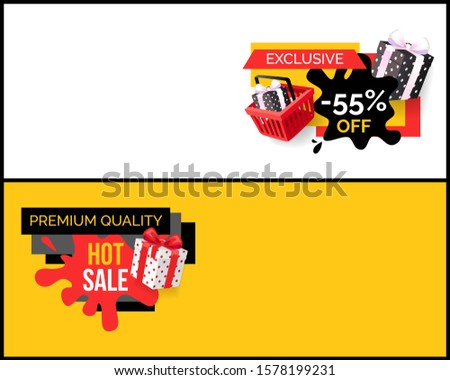 Blot and ribbons with wrapped presents gifts on landing pages, clearance and promotion, special offer adverts. Best choice 55 percent sale, raster