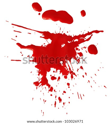 Blot of red blood isolated on white background