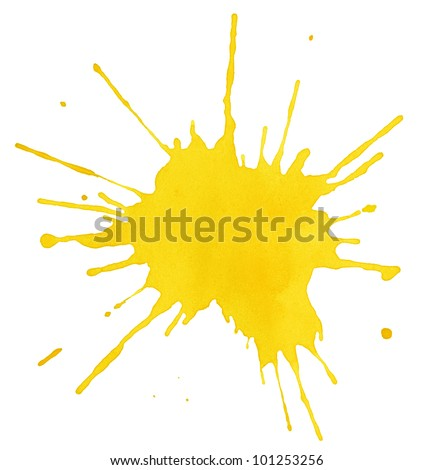 Blot of yellow watercolor isolated on white