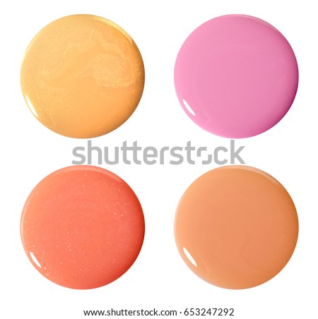 Blots of nail polish. Isolated on white. Photo #653247292