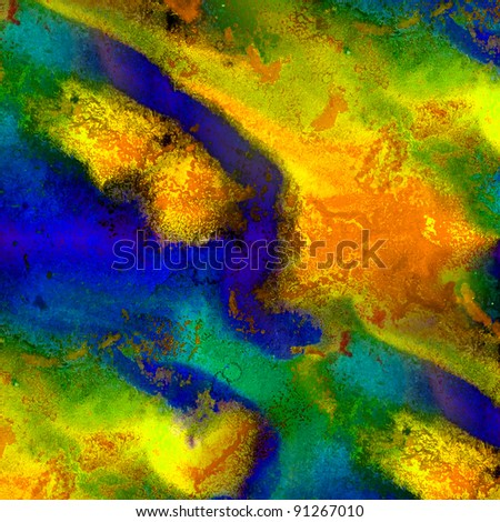 blots watercolor painting yellow blue background - stock photo