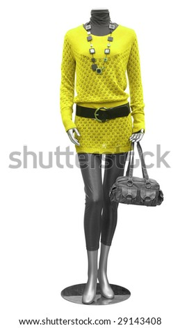 blouse and tights on mannequin isolated on white