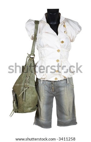 Blouse, shorts and bag on a white background